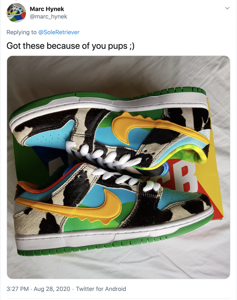 Tweet from a Sole Retriever user who won a pair raffle for the Chunky Dunky SB's