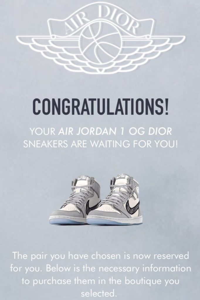 Screenshot of a winning raffle entry for the highly-coveted Dior Air Jordan 1's