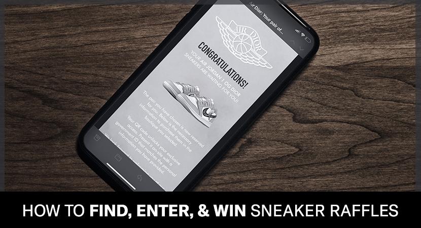 Sneaker raffle win for the Air Dior Jordan 1 on mobile.