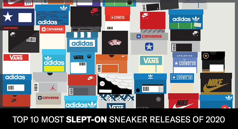 Various branded sneaker boxes illustrating the most slept on sneaker releases of 2020..