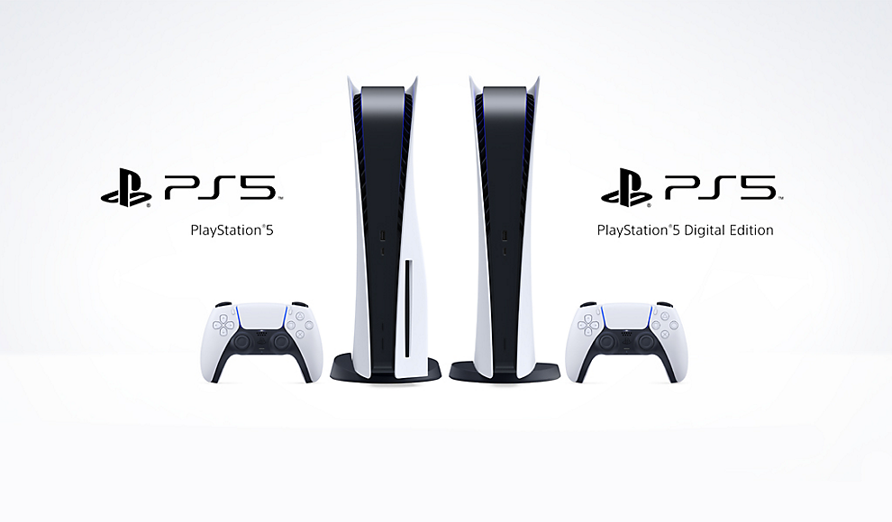 Promotional Image of the Playstation 5 and Digital Edition PS5